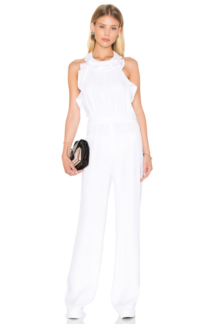 Ruffled white jumpsuit for brides