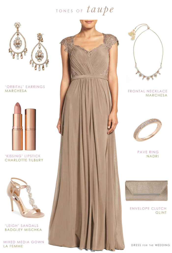 Taupe evening gown neutral special occasion dress for What goes with taupe