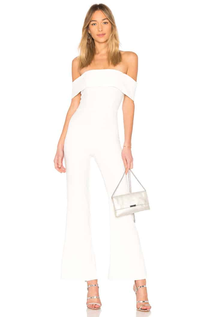 off the shoulder white jumpsui