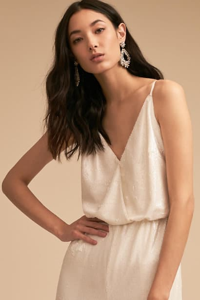 white sequin jumpsuit for a bride to be