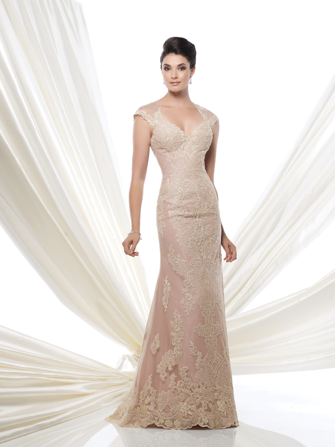 Champagne cap sleeve formal Mother-of-the-Bride Gown