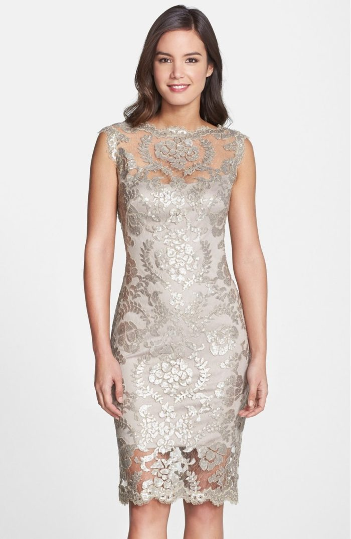 Silver taupe lace cocktail dress for MOB