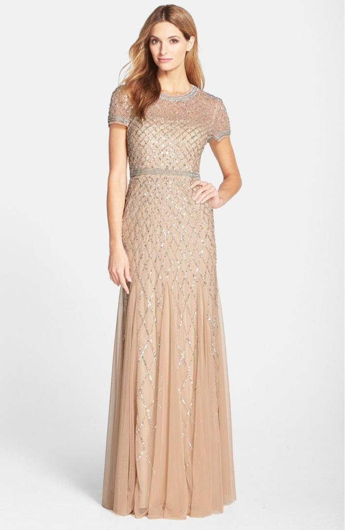 Champagne Beaded Gown with Short Sleeves