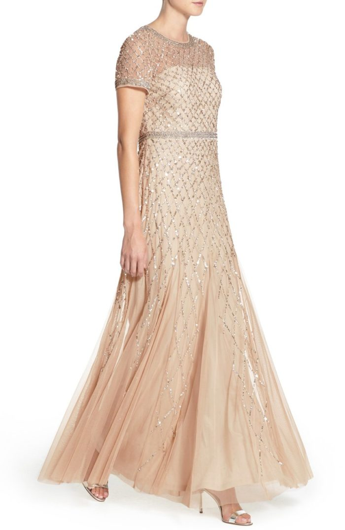 Champagne Beaded Gown for the Mother of the Bride
