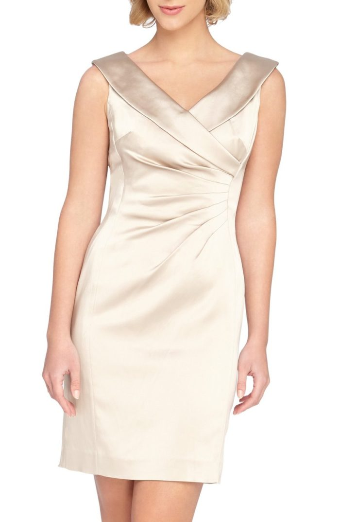 Short satin dress in champage neutral color for mother of the bride