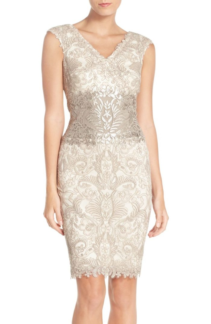 Short champagne lace dress