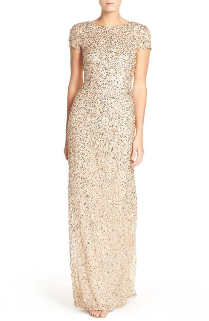 Sequin Mother of the Bride gown in Champagne Gold
