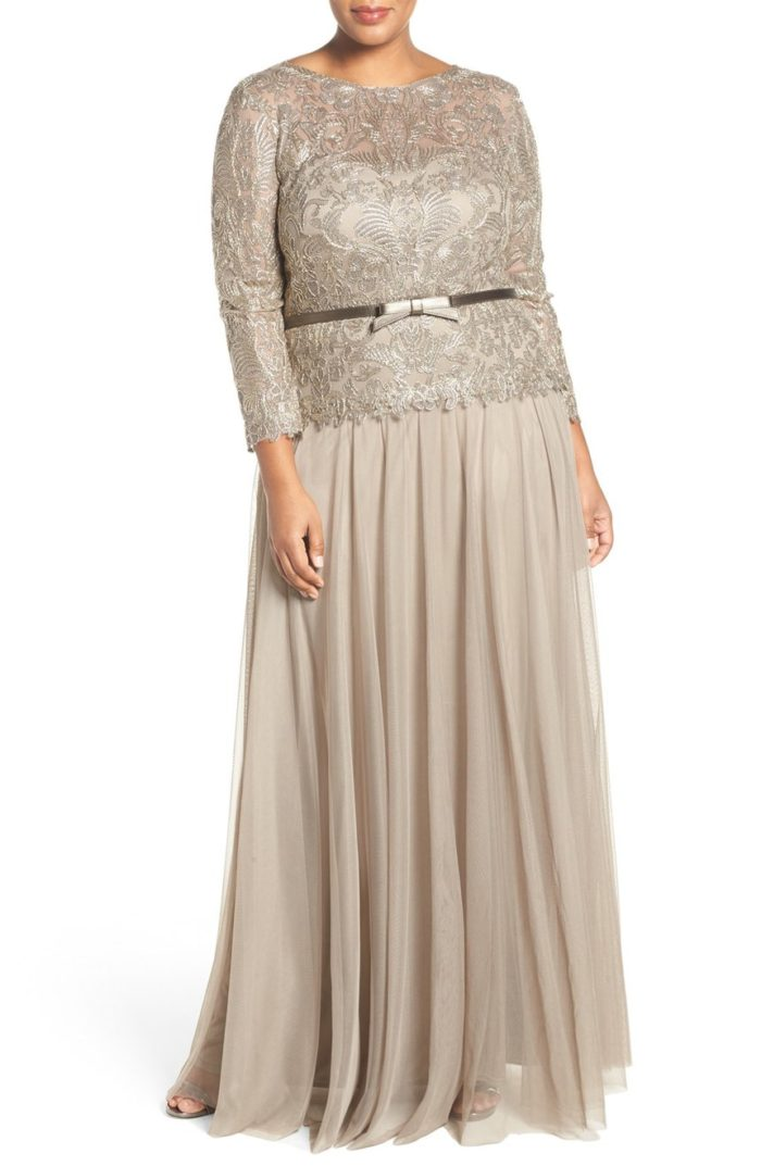 Plus size taupe champagne gown for mother of the bride