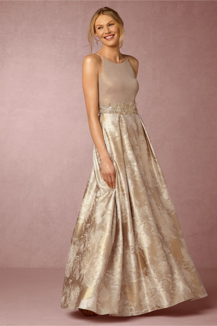 Modern two piece champagne special occasion dress