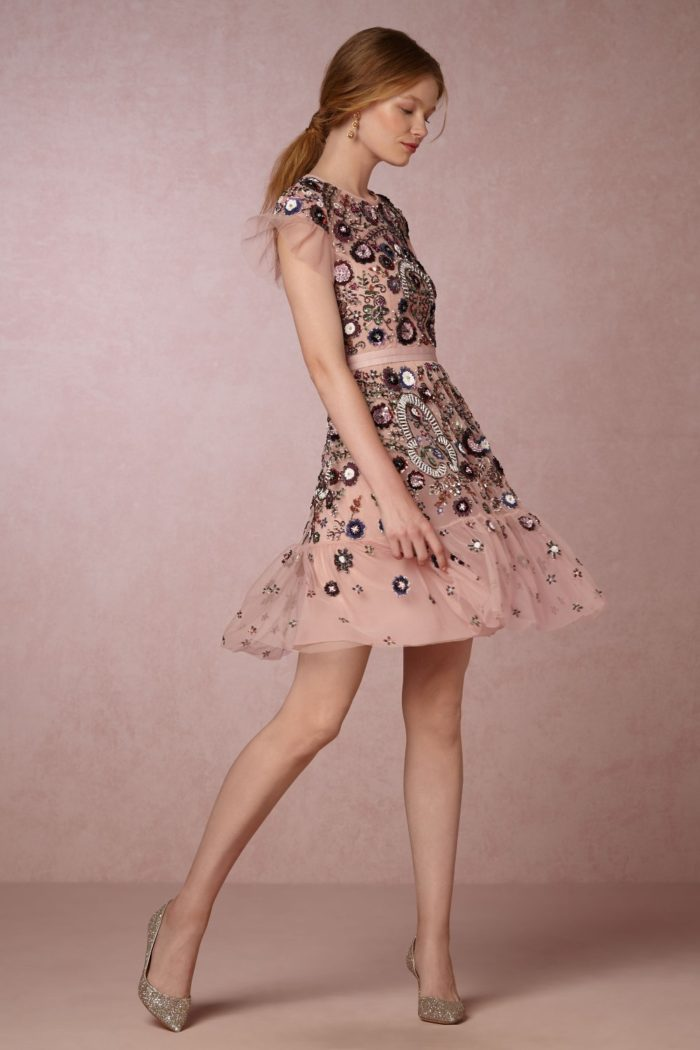 Pink floral embroidered dress by Needle & Thread for BHLDN   Royce Dress