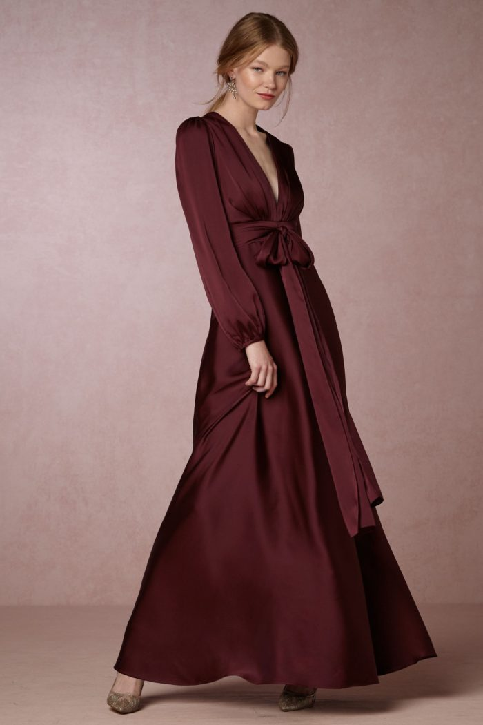 Burgundy long sleeve maxi dress   Long sleeve gown for fall and winter parties