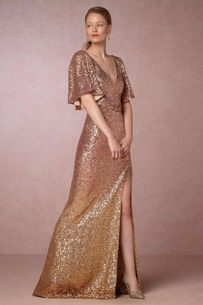 Gold sequin gown by Marchesa for BHLDN