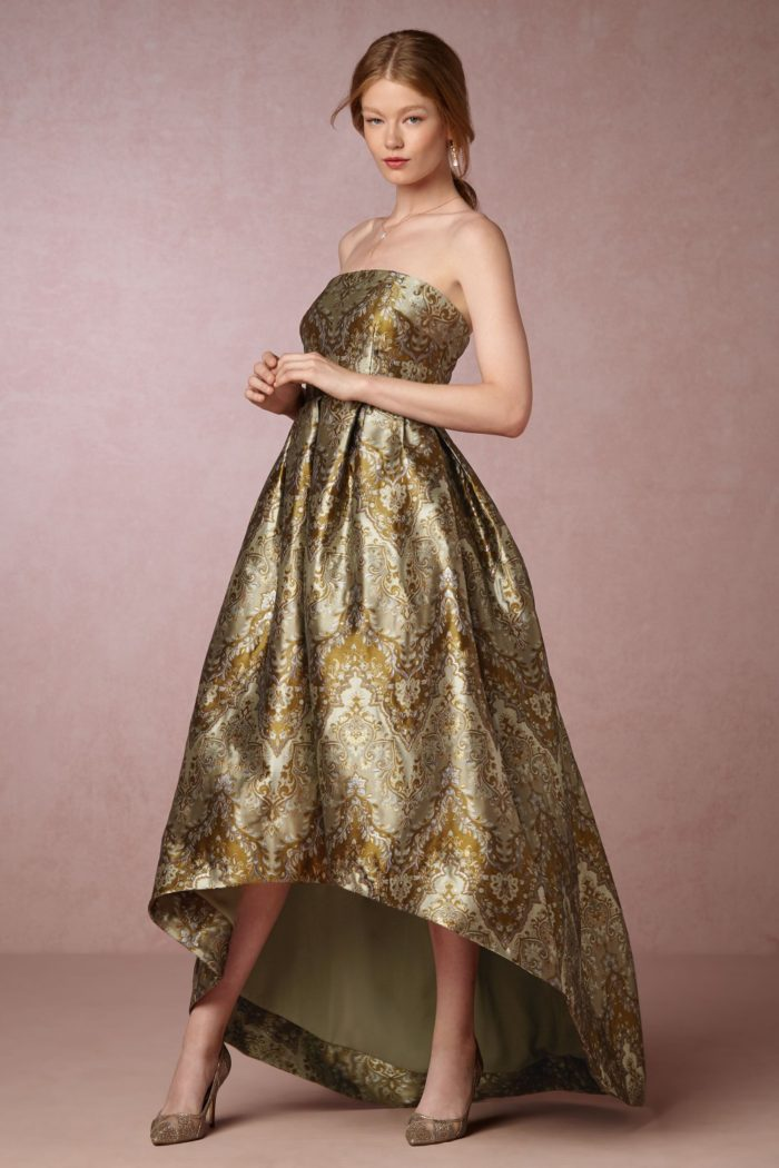 Black tie event attire | Strapless hi-low gold jacquard print dress from BHLDN