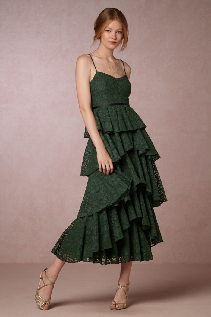Emerald green ruffle tiered party dress from BHLDN