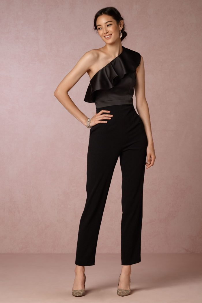 One shoulder black ruffle jumpsuit | Black tie wedding jumpsuit