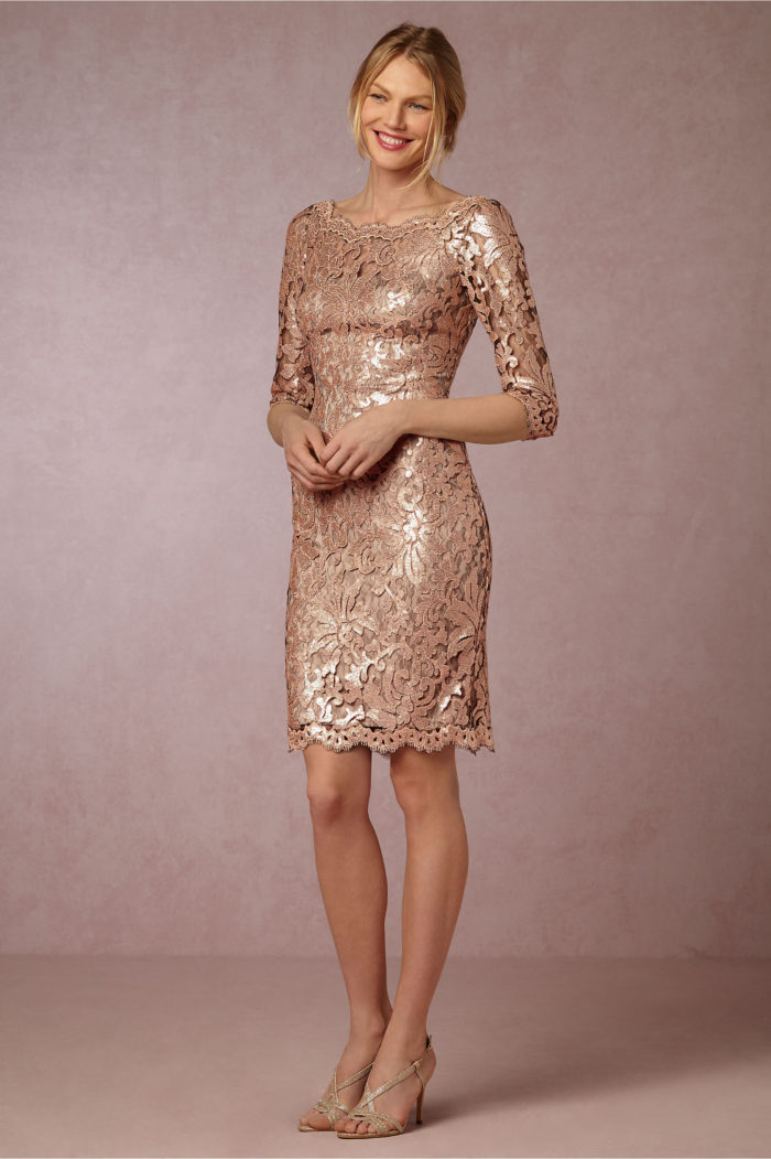 Mother of the Bride Dresses in Gold Lace | Short gold lace cocktail dress