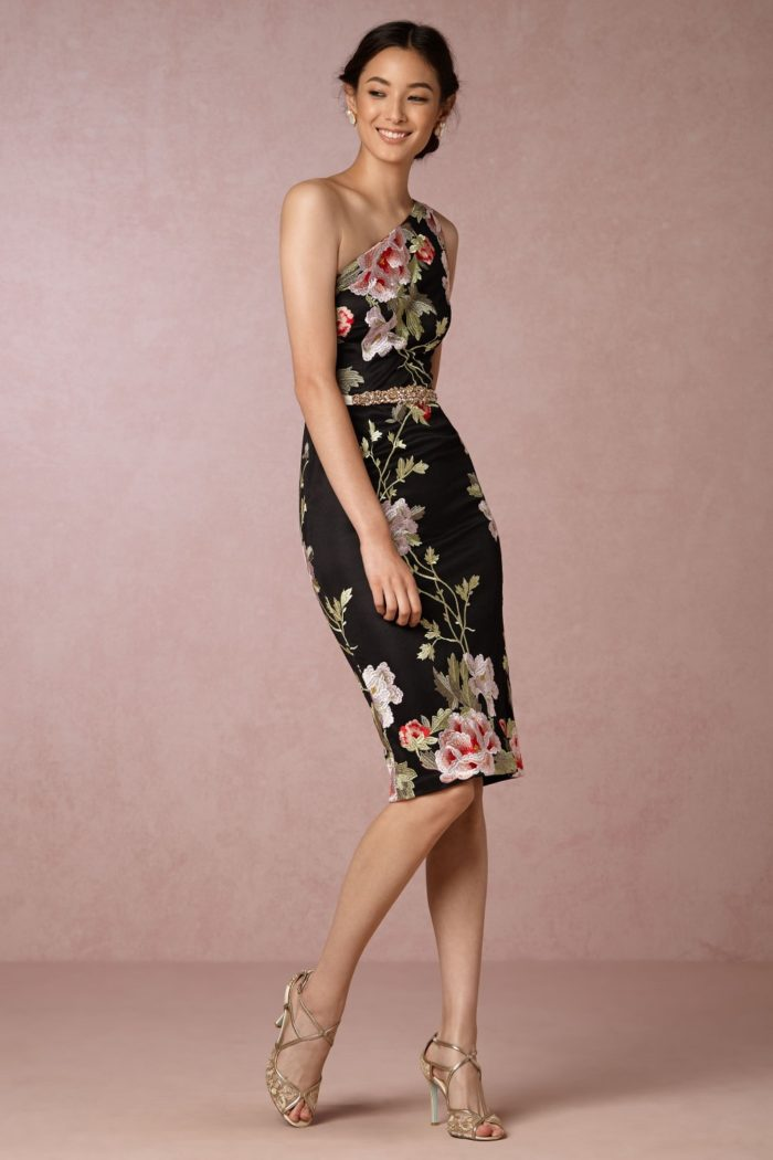 One shoulder black floral sheath dress