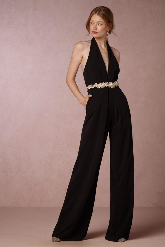 Sleek black halter neck jumpsuit   Party Attire