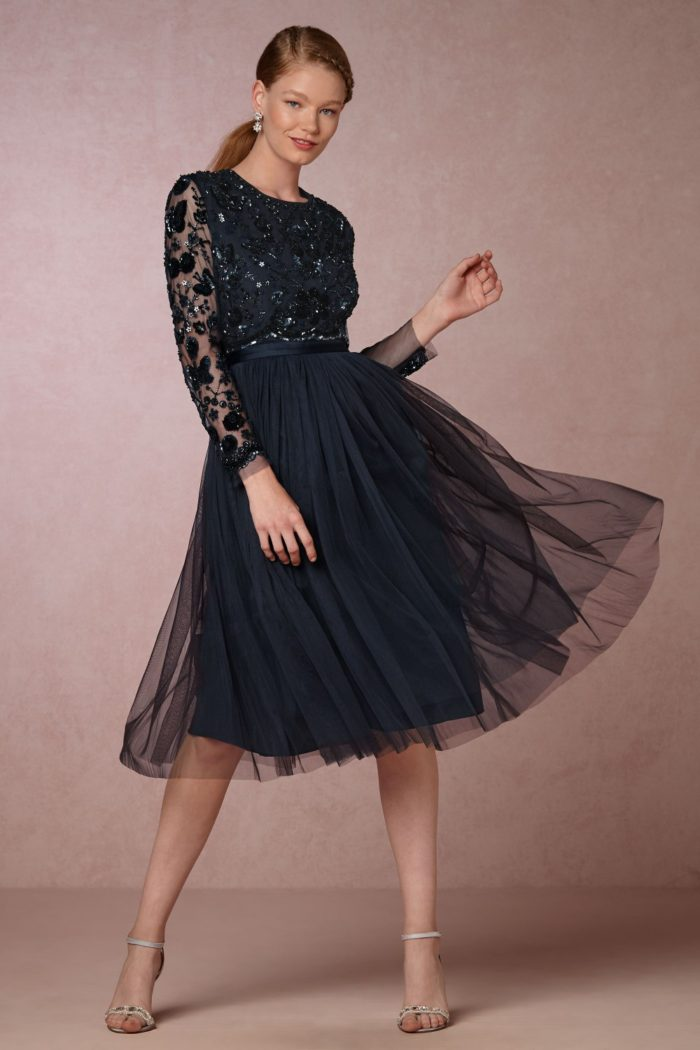 Midnight navy blue tulle and sequin cocktail dress with long sleeves