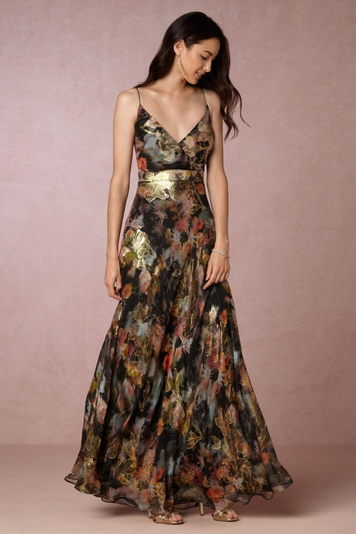 Metallic floral maxi dress for fall wedding guest attire