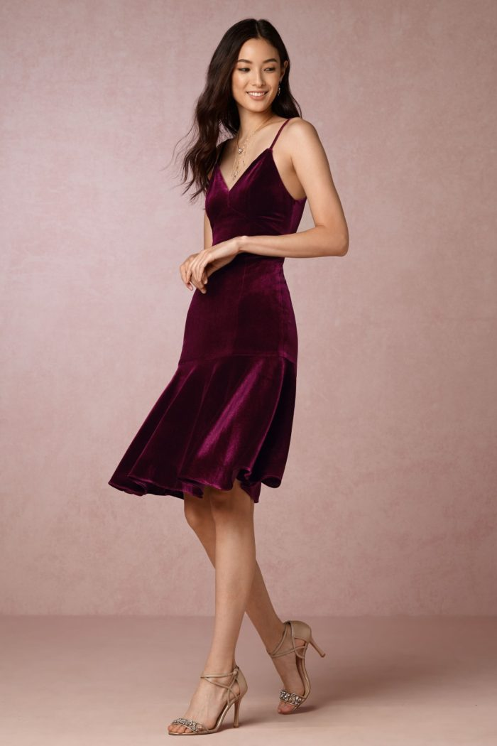Burgundy velvet short dress with spaghetti straps