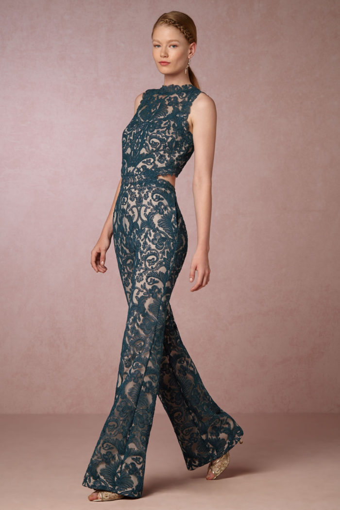 Teal green lace jumpsuit