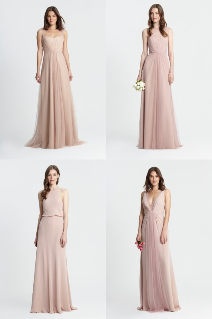 Mismatched Blush and Neutral Bridesmaid Dresses