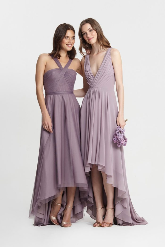 Purple and Lavender Mismatched Bridesmaid Dresses | Monique Lhuillier Style jpg
