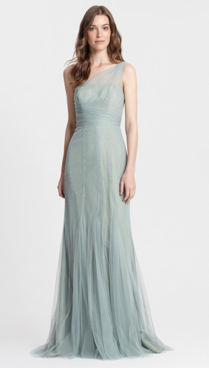 cf4f7cf8ba1 New Monique Lhuillier Bridesmaid Dresses One shoulder Sage Green Bridesmaid  Dress