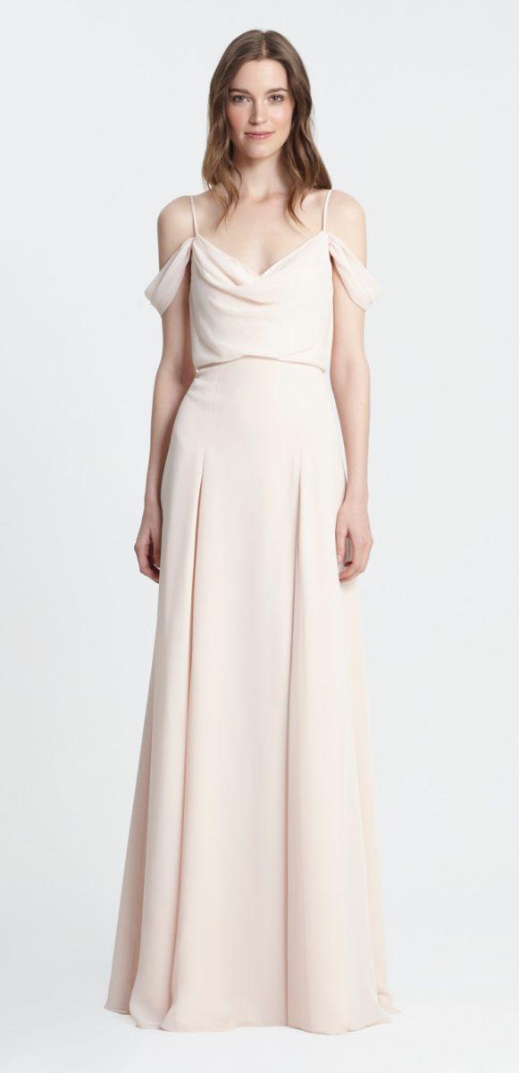 Blush off the shoulder Bridesmaid Dress