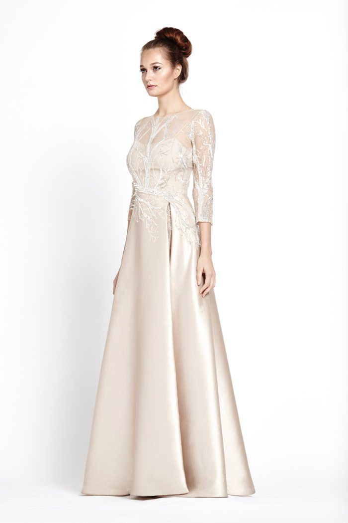 Champagne silk evening gown with sleeves
