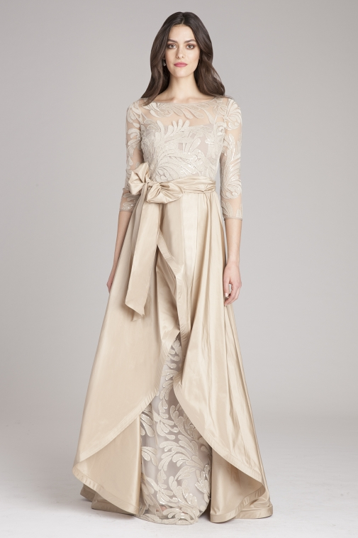 Long sleeve champagne gown | Teri Jon