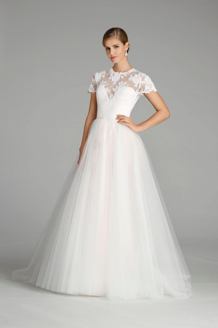 Short sleeve wedding dress from Alvina Valenta Style 9655