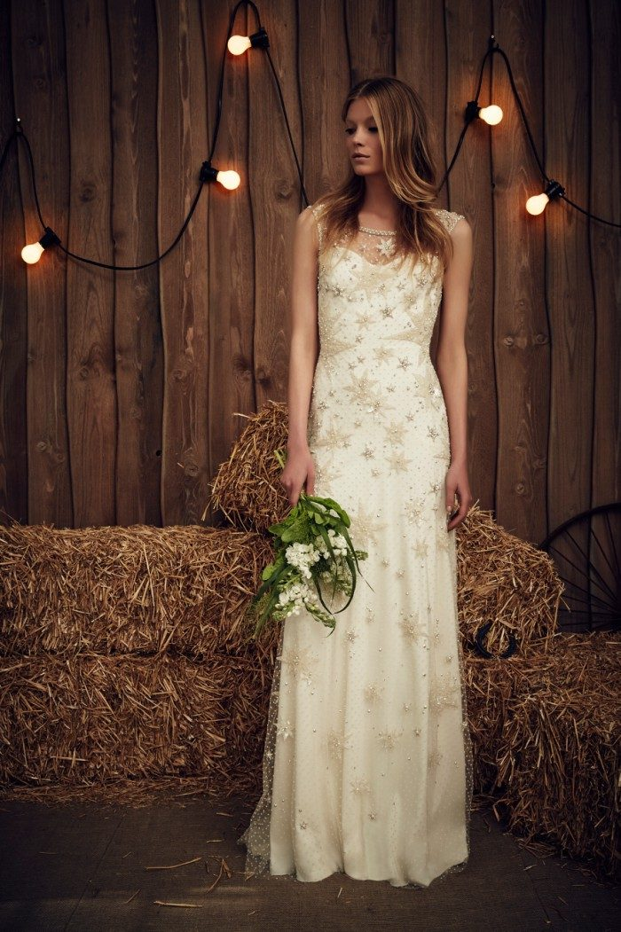 Gold Stars on Wedding Dress by Jenny Packham