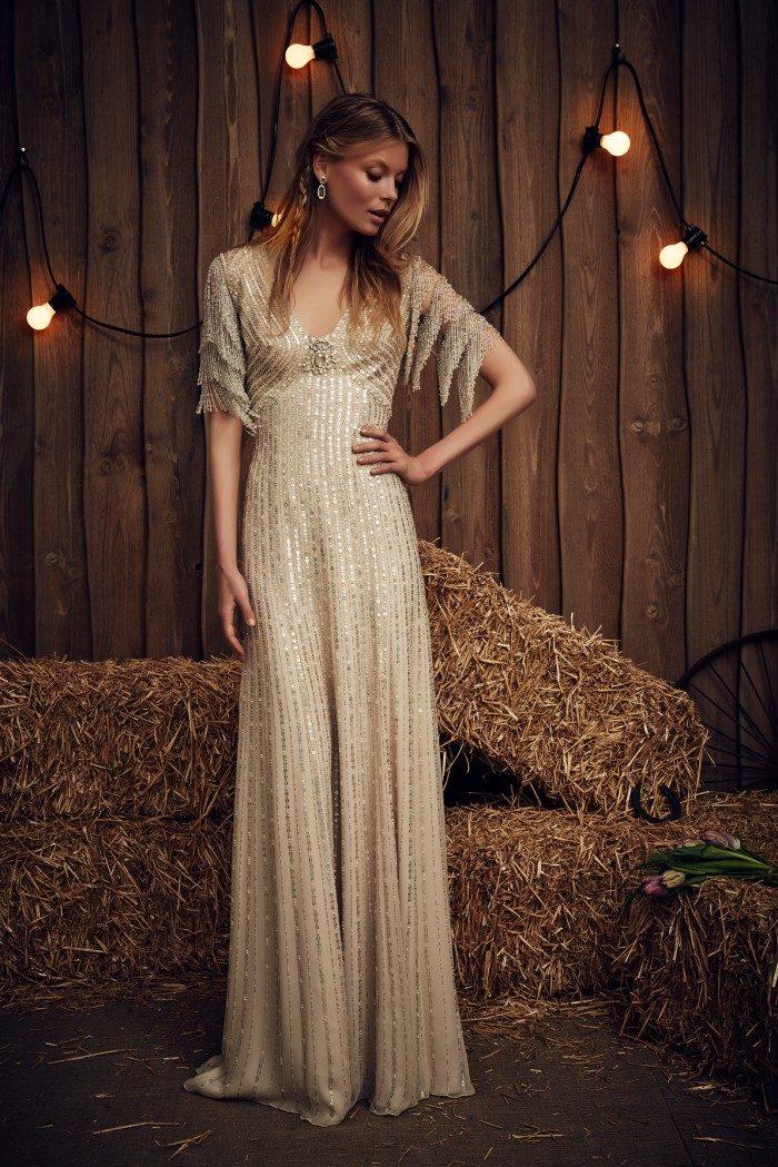 Gold beaded wedding dress. Savannah by Jenny Packham Bridal 2017