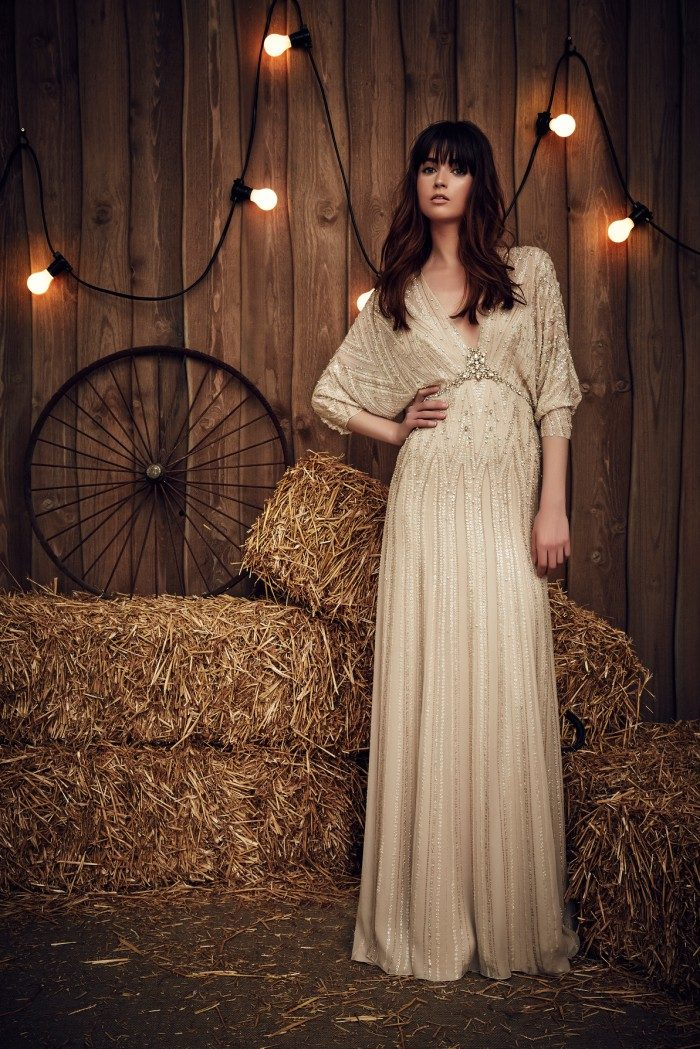Long dolman sleeve wedding dress in gold