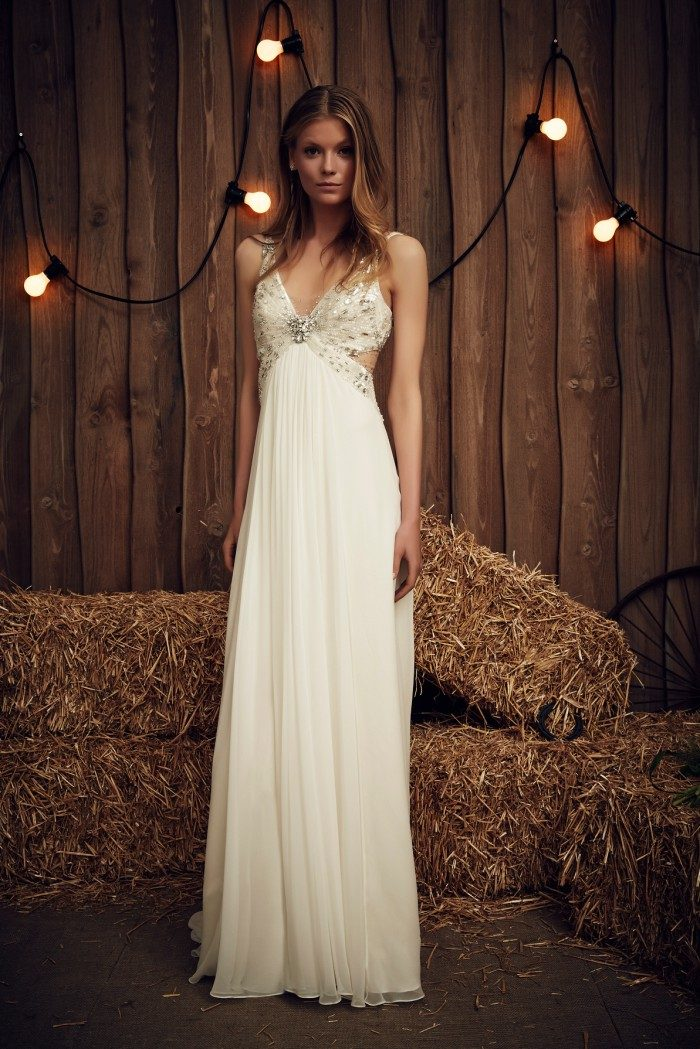 Cut out side wedding dress with beaded detail by Jenny Packham