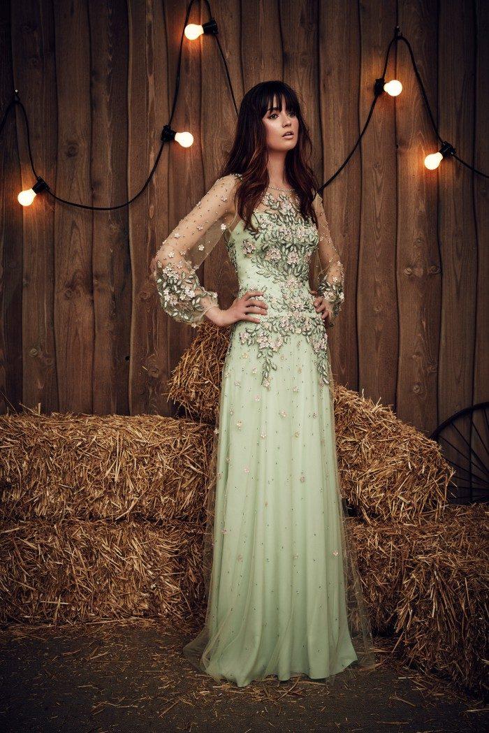 Celadon green wedding dress