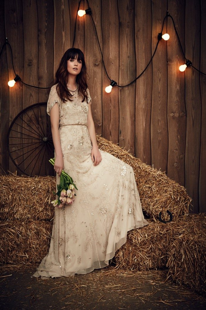 Sweet blush beaded wedding gown by Jenny Packham
