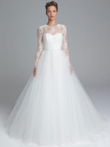 Long Sleeve Lace Top Wedding Dress | Myra by Amsale