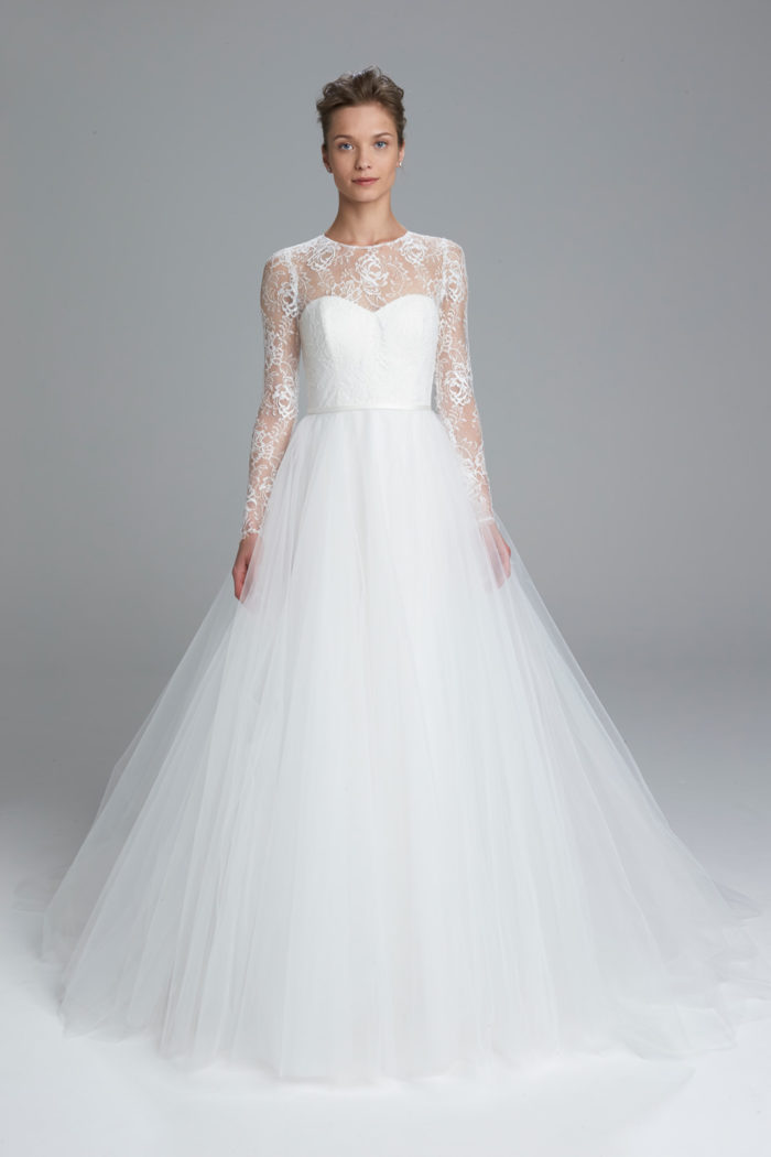 Long Sleeve Lace Top Wedding Dress | Myra by Amsale