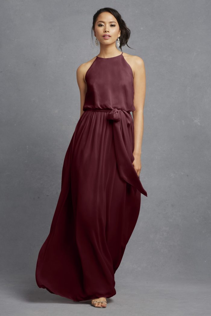 Burgundy maxi dress for bridesmaids