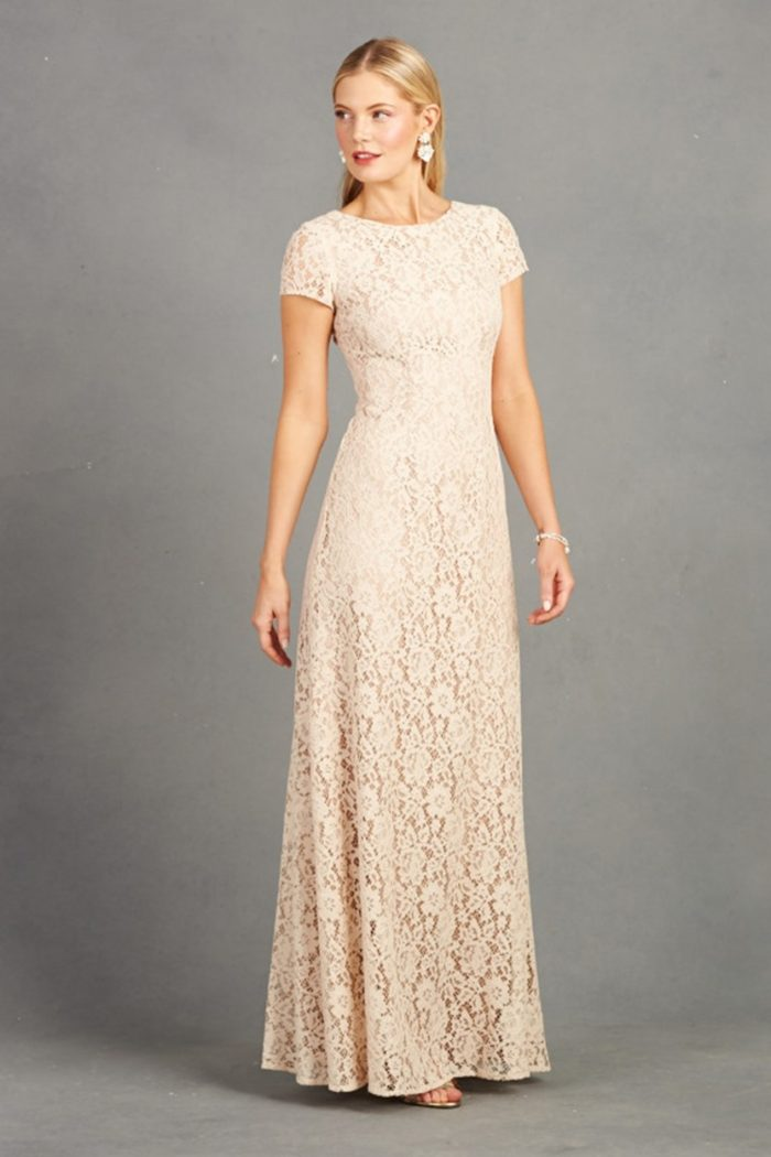 Short sleeve lace gown