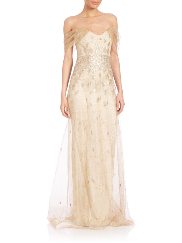 Designer evening gown for Mother of the Bride or Groom in champagne
