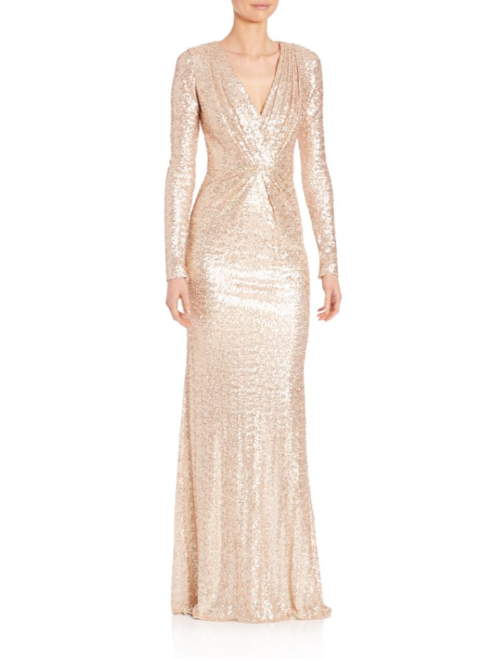 Long sleeve gold sequin evening gown for Mother of the Bride