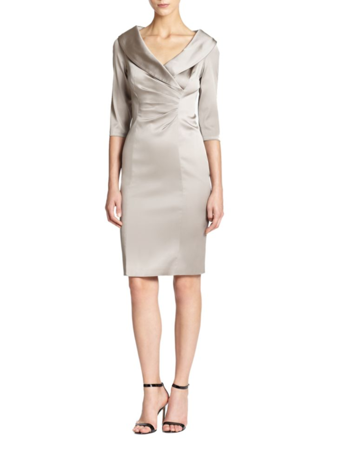 Short neutral satin MOB dress with sleeves