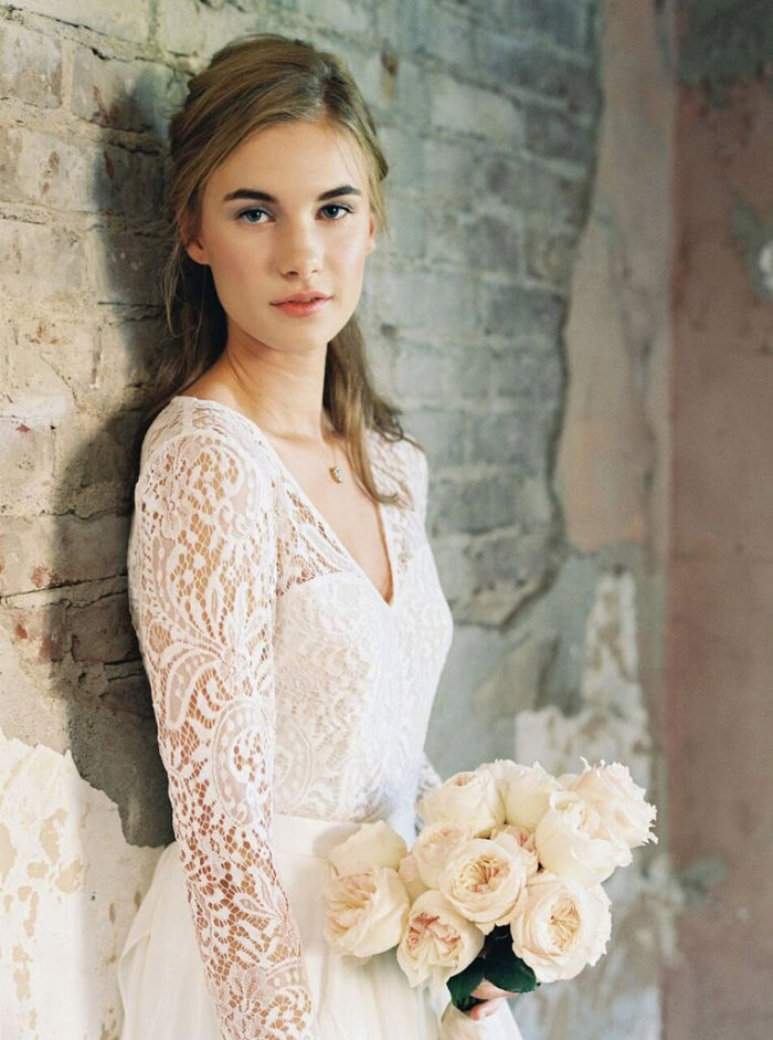 Long sleeve lace bridal top | Created by Lace and Liberty Bridal on Etsy