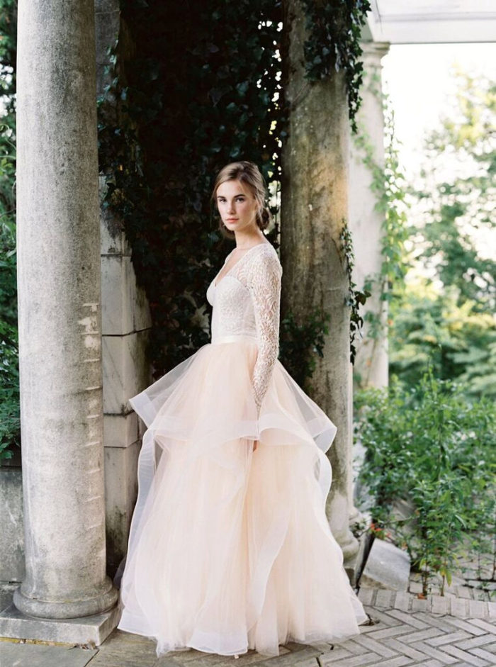 Long sleeve lace top and tulle skirt   Created by Lace and Liberty Bridal