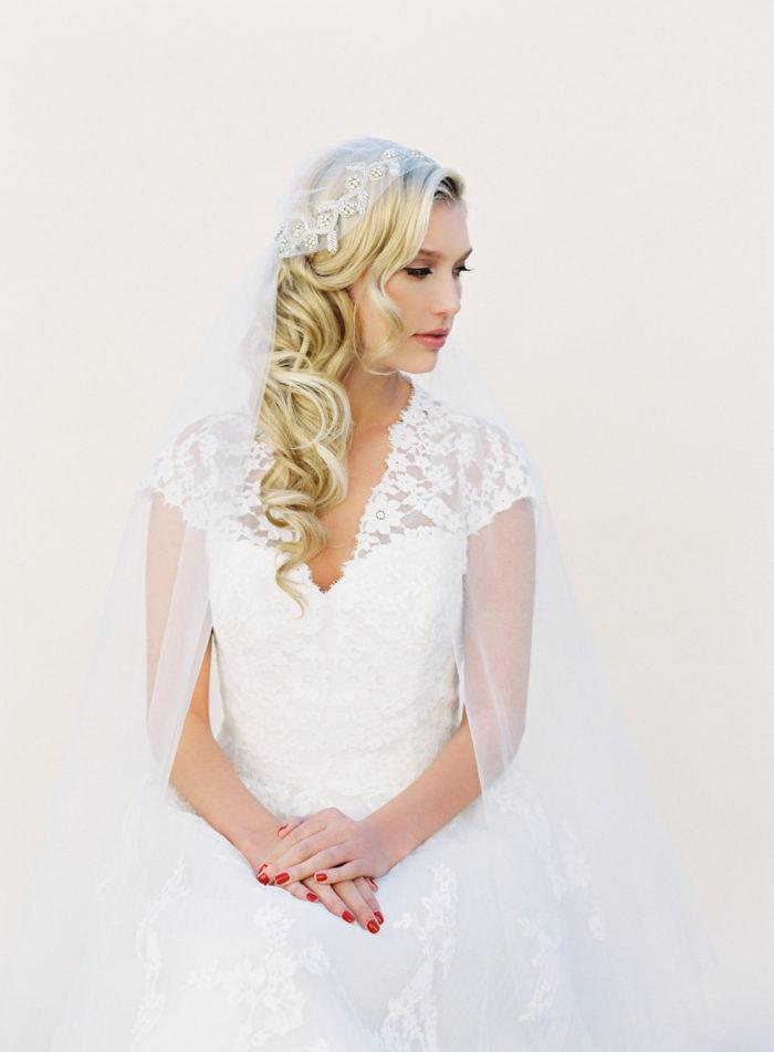 Crystal cap veil   Bridal veil by VeiledBeauty