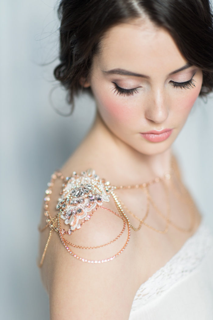 Rose gold crystal brida shoulder necklace | Created by BlairNadeauMillinery